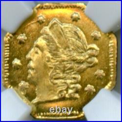 Blazing Gold 1869 Oct Lib G25C California Fractional Gold / BG-702 NGC MS65