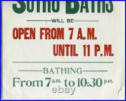 C. 1903 SAN FRANSCISCO SUTRO BATHSRARE ORIGINAL 14x21 ANTIQUE STREETCAR POSTER