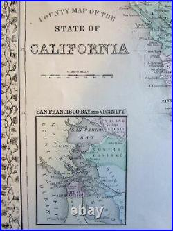 California San Francisco city inset 1874 Mitchell fine large detailed old map