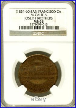 California Token Joseph Brothers, San Francisco (1854-60) 1850s NGC MS63
