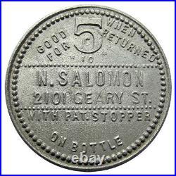 California Trade Token Fredericksburg Lager (1898-1907) Salomon, San Francisco