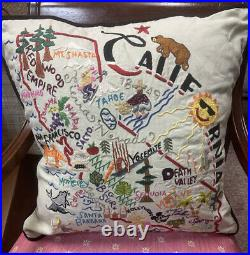Catstudio Pillow CALIFORNIA Hand Embroidered 20x20 San Francisco Hollywood