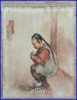 ESTHER HUNT Original Signed Watercolor Child San Francisco California Chinatown