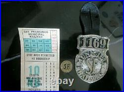 Fare Ticket + TOKEN San Francisco CABLE CAR Municipal Railway EMPLOYEE Badge