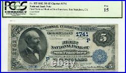 Fr. 532 1882 Db $5 Ch #1741 Natl' Bank Note San Francisco, California Pcgs 15 F