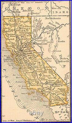 Framed Original 1887 Antique Map CALIFORNIA Yuba Ukiah Eureka Yosemite Visalia
