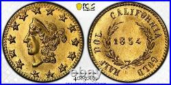 GEM 1854 Rd Lib G50C California Fractional Gold / B-1304A PCGS MS65
