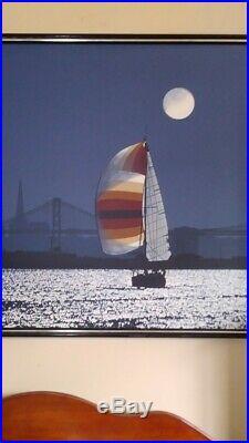 Huge Vintage Letterman Oil Painting San Francisco Bridge California Mid Century