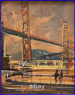 John Checkley San Francisco California small painting Bay Bridge Mid Century MOD