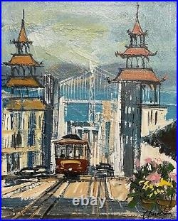 John Checkley San Francisco California small painting Cable Car Mid Century MOD