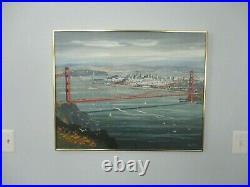 John Leonard Checkley Painting Golden Gate Bridge San Francisco Skyline