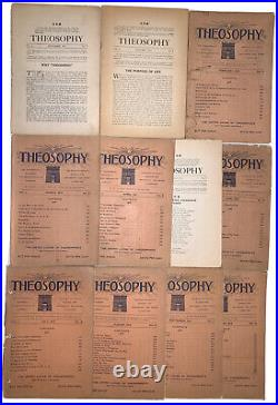 LOT OF 11 ISSUES, THEOSOPHY MAGAZINE, Vol 1, 1912-13, OCCULT SCIENCE, PHILOSOPHY