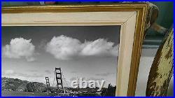 Large Vintage B&W Photo of San Francisco's Golden Gate Bridge, Original Frame