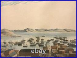 Lithograph View San Francisco California Gold Rush Harbor Bay 49ers Coolies RARE