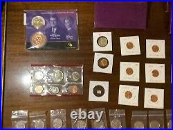 Lot Uncirculated Quarters, Pennies, Dollar and set, 19 proof sets + 1981 type 2