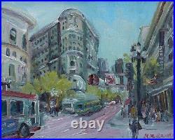 Market Street San Francisco California Impressionism Oil withframe