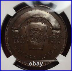 Masonic Penny Dated 1855 California Chapter No. 5 San Francisco Ca Ngc Ms66 Bn