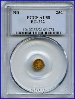 ND(1853) Rd Lib G25C California Fractional Gold / BG-222 PCGS AU58