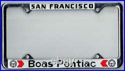 N. O. S. San Francisco California Boas Pontiac Vintage Dealer License Plate Frame