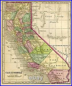 Original Pre-Civil War 1857 Hand-Colored Antique Map CALIFORNIA Sacramento CA