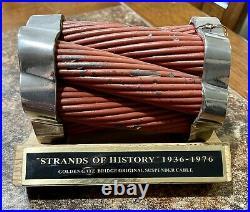 Original San Francisco Golden Gate Bridge Suspension Cable Piece With Stand