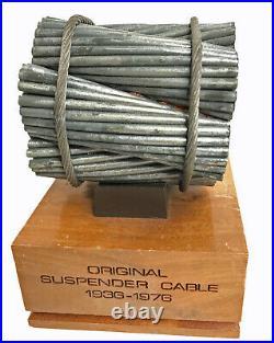 Original San Francisco Golden Gate Bridge Suspension Cable Piece With Stand 1976