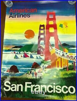 Original Travel Poster American Airlines San Francisco California Sailboat Sun