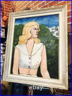 Original Vintage 60s Signed Portrait Painting San Francisco Modern Mona Lisa