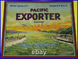 PACIFIC EXPORTERSAN FRANCISCOVERY RARE ORIGINAL 1920s GRAPEFRUIT CRATE LABEL