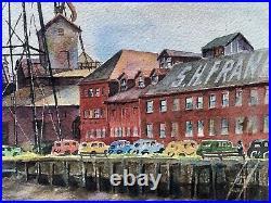 Ralph Ledesma 1946 Early California Watercolor San Francisco Industrial Signed