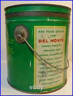 Rare Large Vintage 1930s DEL MONTE COFFEE GRAPHIC COFFEE TIN 4 POUND MADE IN USA