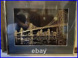 Rare Paul Van De Pol Brass Etching Of San Francisco Oakland Bay Bridge 20 x 16