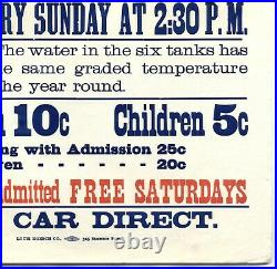SUTRO BATHSRARE 1897 SAN FRANCISCO 17x18 ANTIQUE STREETCAR ADVERTISING POSTER