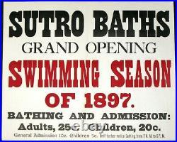 SUTRO BATHSRARE 1897 SAN FRANCISCO STREETCAR 13x17 STREETCAR ADVERTISING POSTER