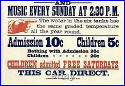 SUTRO BATHSRARE ANTIQUE 1897 SAN FRANCISCO 17x18 STREETCAR ADVERTISING POSTER