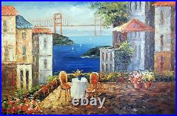 San Francisco Bay Golden Gate Patio Table For Two Oil Painting 24X36 STRETCHED