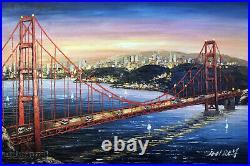 San Francisco Bay Sunrise Golden Gate Bridge 24X36 Bold Oil Painting STRETCHED