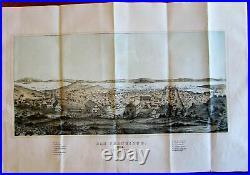 San Francisco California 1854 birds-eye view color lithograph print