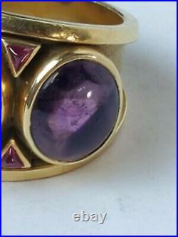 San Francisco California Designer Frank Trozzo 18k & Amethyst Ring