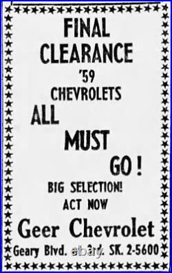San Francisco California Geer Chevrolet Vintage GM Dealer License Plate Frame