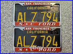 San Francisco California S & C Ford License Plate Frames, Pair, Used, Only