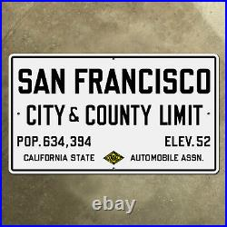 San Francisco California city county limit highway road sign 1929 42 x 24