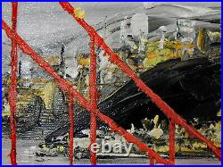 San Francisco Golden Gate Bridge Bay Area Black & White Oil Painting STRETCHED