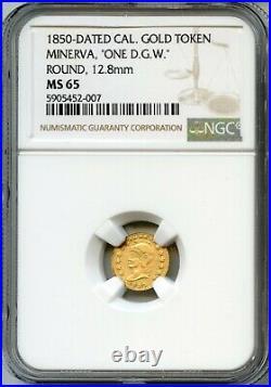 Scarce 1850 California Eureka Gold Token ONE DGW / NGC MS65 R7 Solid Gold