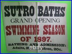 Sutro Baths' 1897 San Francisco Advertising Poster, Original