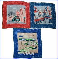 TAMMIS KEEFE Handkerchief San Francisco CHINATOWN FISHERMANS WHARF CABLE CAR