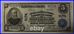 US $5 National Banknote Series of 1902 San Francisco California Ch #9174 In Case