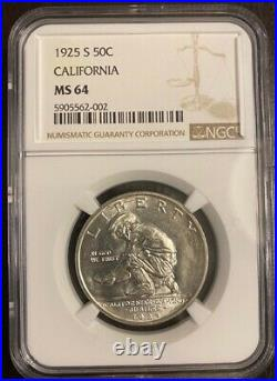 U. S. 1925-s California Half-dollar Silver Uncirculated Coin Certified Ngc-ms64