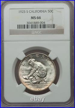 U. S. 1925-s California Half-dollar Silver Uncirculated Coin Certified Ngc-ms66