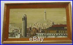 Vintage California Regionalism Landscape Roof Tops San Francisco Wpa Style Mod